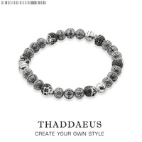Rebel Skull Cross Beads Bracelets,Thomas Style Bracelet Jewerly For Men,Link At Heart Gift In Silver & Zirconia,Wholesale Price
