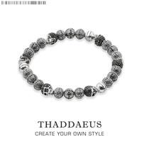 Rebel Skull Cross Beads Bracelets,Thomas Style Bracelet Jewerly For Men,Link At Heart Gift In Silver & Zirconia,Wholesale Price