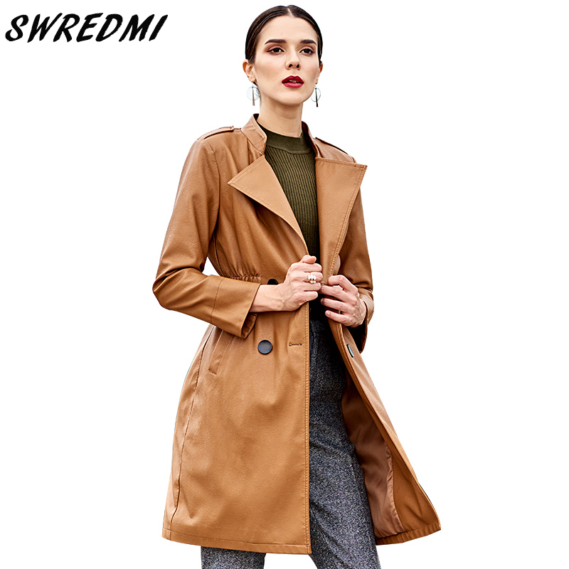 SWREDMI Women Double Breasted   Leather   Trench Brown Colour   Leather   Coat Female Spring Autumn Long Western Style   Leather   Clothing