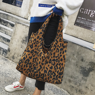 Leopard Grain Shoulder Bags Reusable Shopper Bag Grocery Canvas Crossbody Shopping Handbags Large Tote