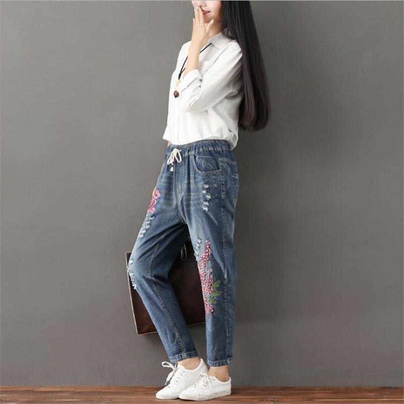 Bordado Mujeres 3xl Cintura Más Jeans Cordón Tamaño Jeanscq1748 Agujeros Blue Mediados Harem Mujer Pantalones 2018 Flores Femenino De Moda Vintage wTqIzxx0