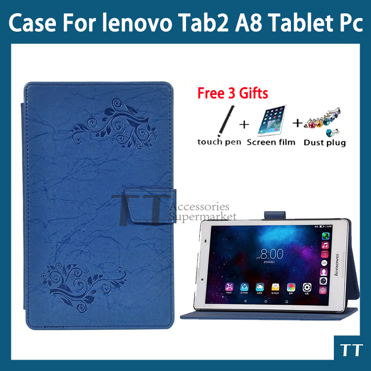 Pu Leather Cover Case For Lenovo Tab 2 A8-50 A8-50F A8-50LC 8 Tablet Case for Lenovo Tab 3 TAB3 8.0 850 850F 850M+free 3 gifts