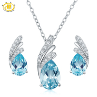 Hutang Solid 925 Sterling Silver Natural Blue Topaz Jewerly Sets Earrings Pendant Necklace Gemstone Fine Jewelry
