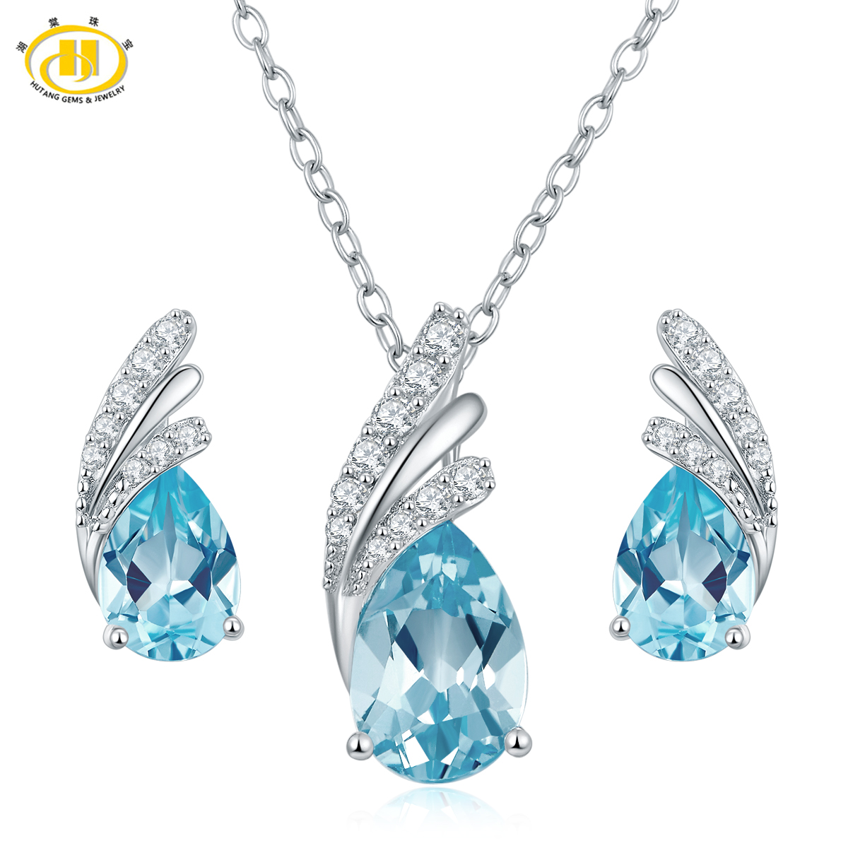 Hutang Solid 925 Sterling Silver Natural Blue Topaz Jewerly Sets Earrings Pendant Necklace Gemstone Fine Jewelry Women Gift