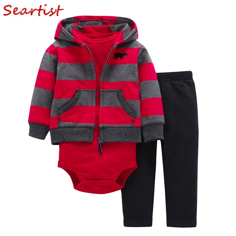 Seartist Baby Boy Girl Clothes Newborn 3Pcs Clothing Set Hoodies+Romper+Pants Outfit Suit Boys Girls Hoodies Sets 2018 New 40C ...