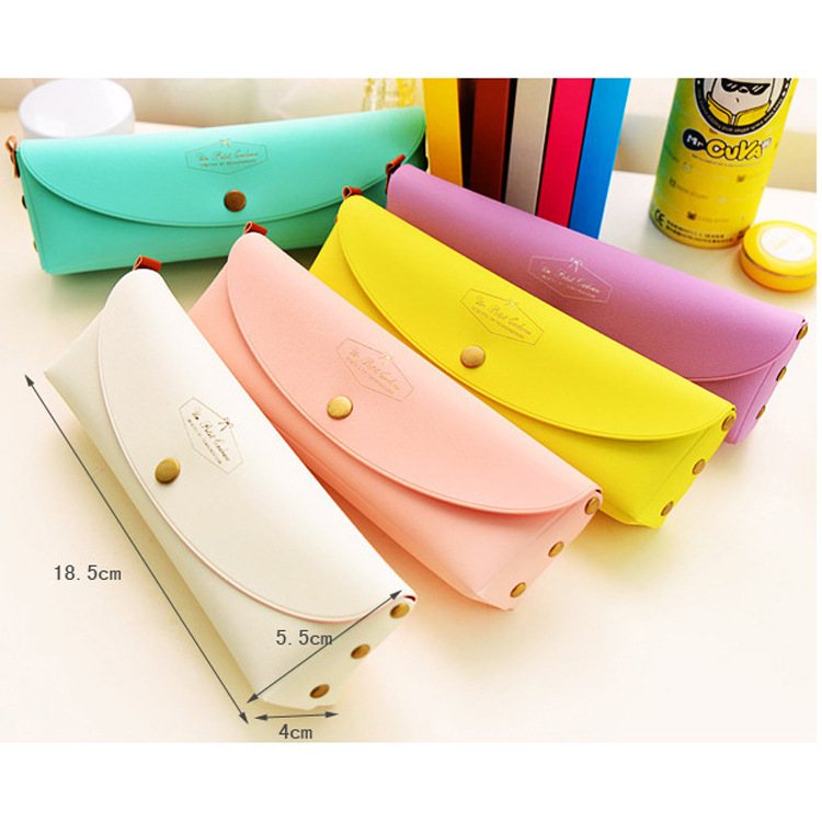 Newest High Quality PU Leather Pencil Cases Stationery  School Office Pencil Bag Students Pencil Case Girl's Gift Cosmetic Bag