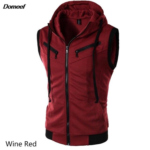 Domeef Men Stylish Hoodies Casual Sleeveless Jacket Autumn Men Vest Male Slim Fit Hooded Zipper Sweatshirt