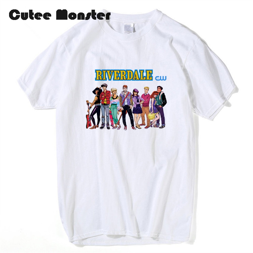 ТВ Show ривердейл рекламные футболка Для мужчин Для женщин короткий рукав мультфильм футболки 100% хлопок аниме Harajuku футболка