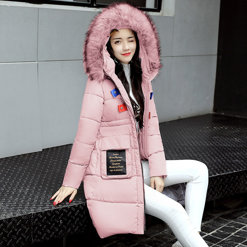 Warm Thick Winter Large Fur Collar Hooded Cotton Padded Jacket Women Parka Medium-long Coat Girls 2017 Wadded Outerwear TT2980