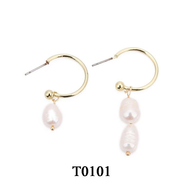 T0101A,复古淡水珍珠耳环,大约2X(3-4)cm,开口圆圈