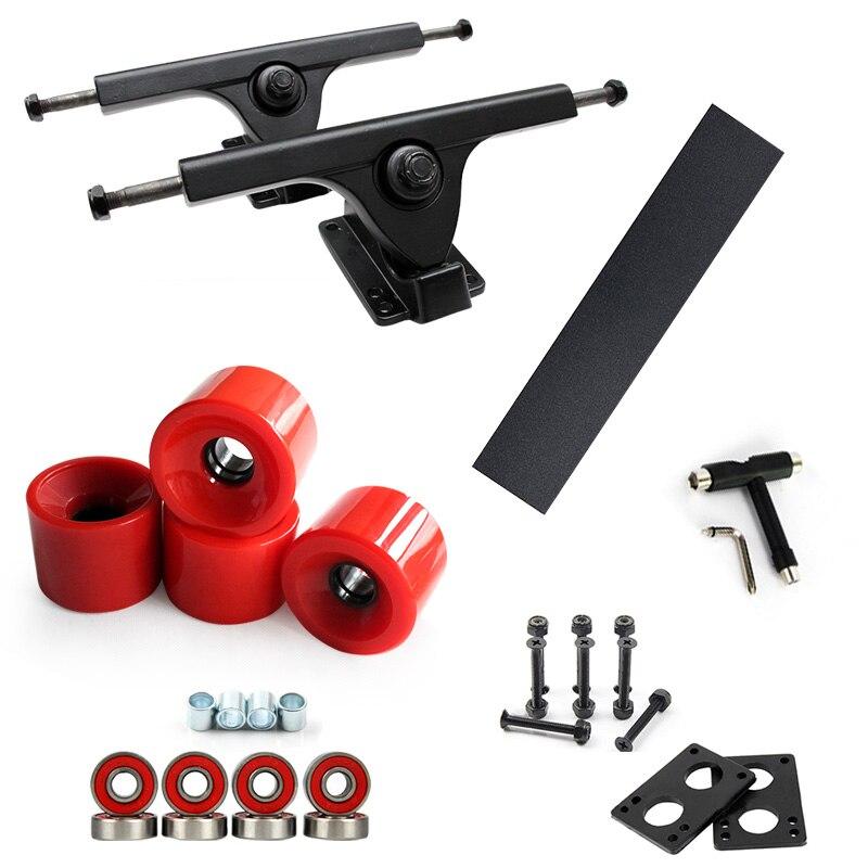 7 pouces Longboard Skateboard camions pont Combo Set 70*51mm roues 125mm poignée bande 6mm caoutchouc Risperad 35mm matériel Skateboard