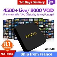 France IPTV SUBTV 1 Year IP TV Arabic MX10 Android 8.1 4+64G Full HD Live French Italy UK Portugal IPTV Subscription SUBTV