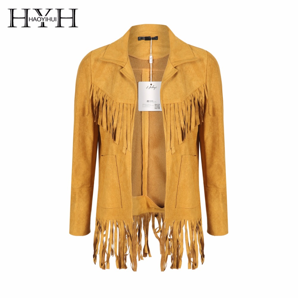 HYH HAOYIHUI 2018 Yellow Women   Basic     Jacket   Casual Tassel Loose Pocket Coat Streetwear Long Sleeve Open Front Female Otewear