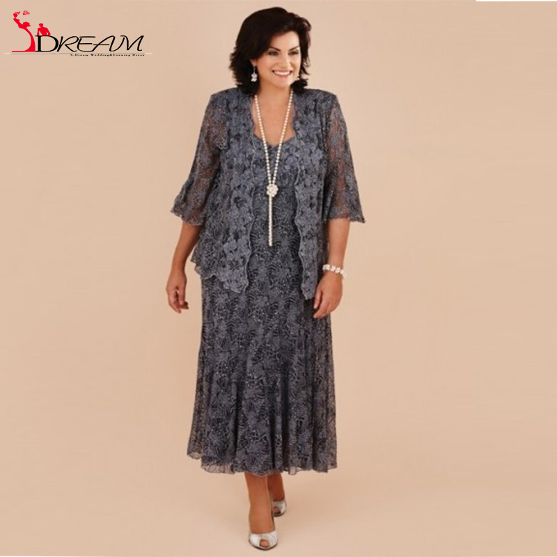 Buy plus size tea length gray lace mother for Western wedding mother of the bride dresses