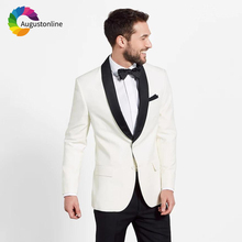 Ivory Shawl Lapel Men Suit Wedding Suits For Man Prom Blazer Slim Fit Casual Tailored Tuxedo Best 2 Pieces Terno Masculino