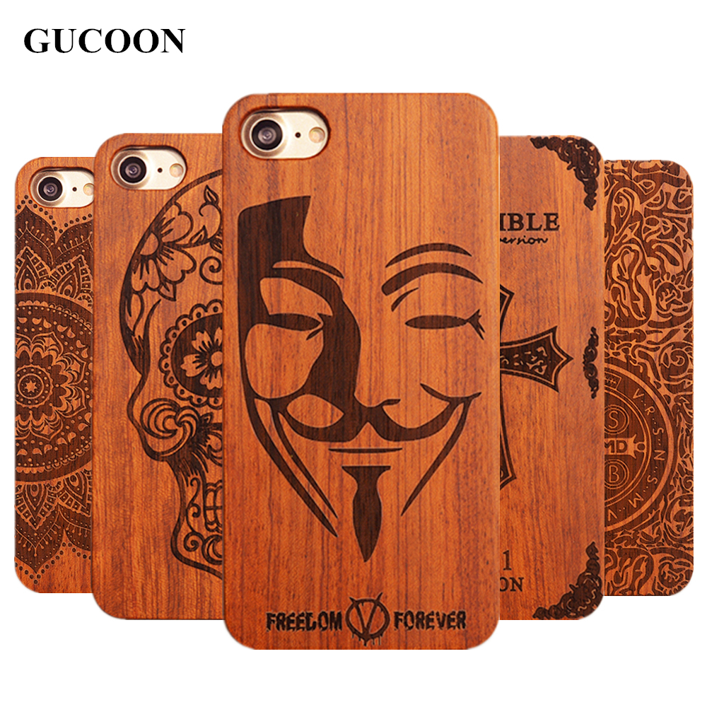 Retro PC+Wood Skull Case for iPhone 6 4.7″ Novelty Vintage Phone Cases Cover for iPhone 6s SE 5S 7 7 Plus Plastic Shell