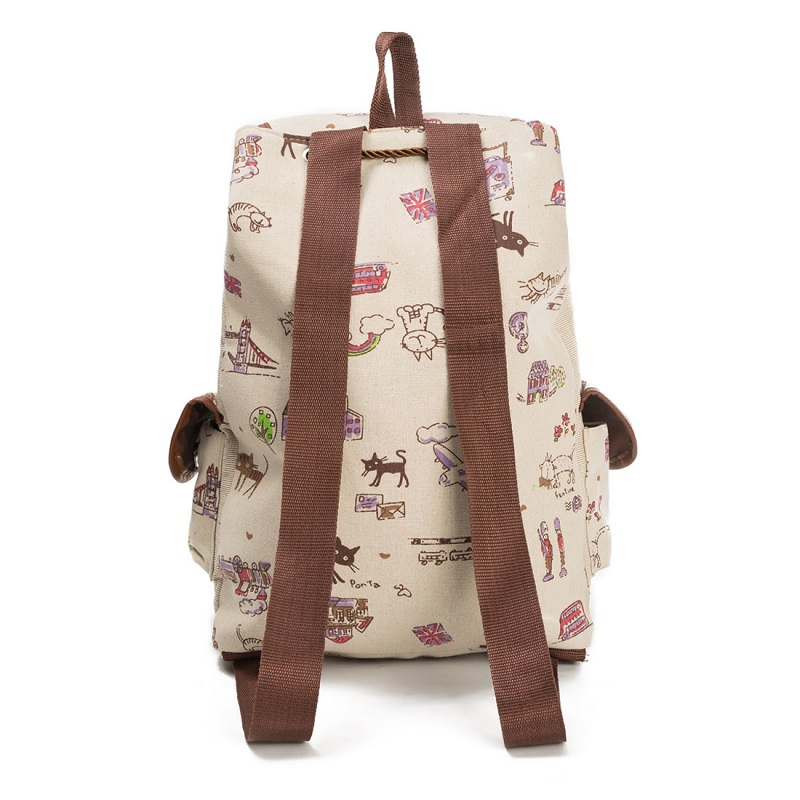 Miyahouse 2017 Vintage Women Backpack Drawstring Animal Printing Canvas Cute Cat School Backpacks For Teenage Girls In From Luggage