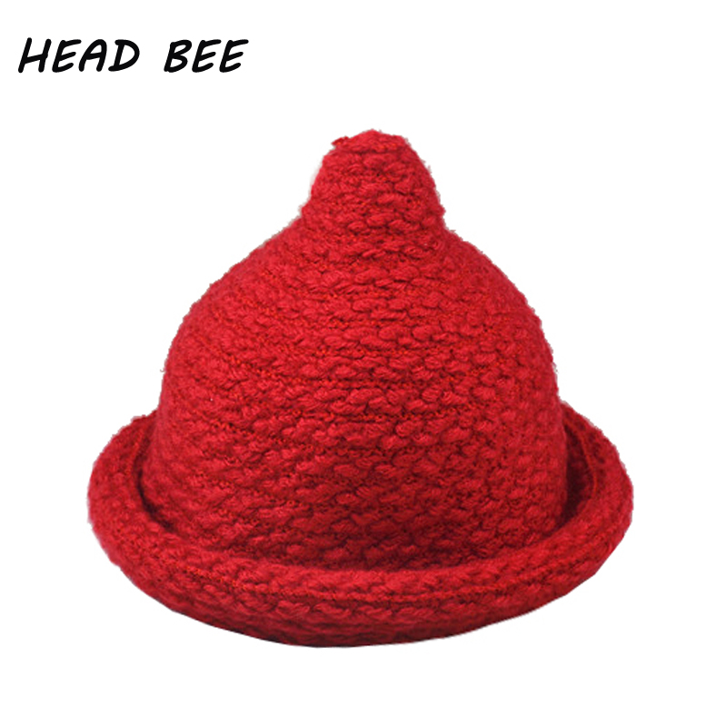 [HEAD BEE] 2017 Brand Skullies and Beanies Winter Hat Kid Knitted Cap Cotton Lovely Warm for Boy and Girl skullies