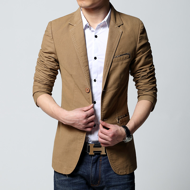 Mens Casual Blazer And Jacket New Korean Fashion Style 2019 Black Khaki Brown Slim Fit Hot Sale Mens Jacket