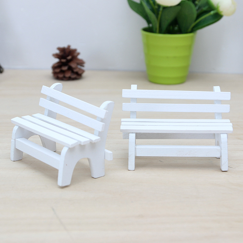High Quality 2PCS Mini White Chair Crafts Taking Pictures Props Creative Home Wood Decor ...