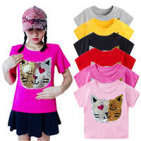 Girls Magic Glitter Reverse Sequin Top Color Changing Kids Girls T shirts Summer Kids Sequined T shirt Tops Children's Clothing