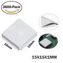 3600pcs 15mm*15mm*1mm Thermal Pad GPU CPU Heatsink Cooling Conductive Silicone Pad