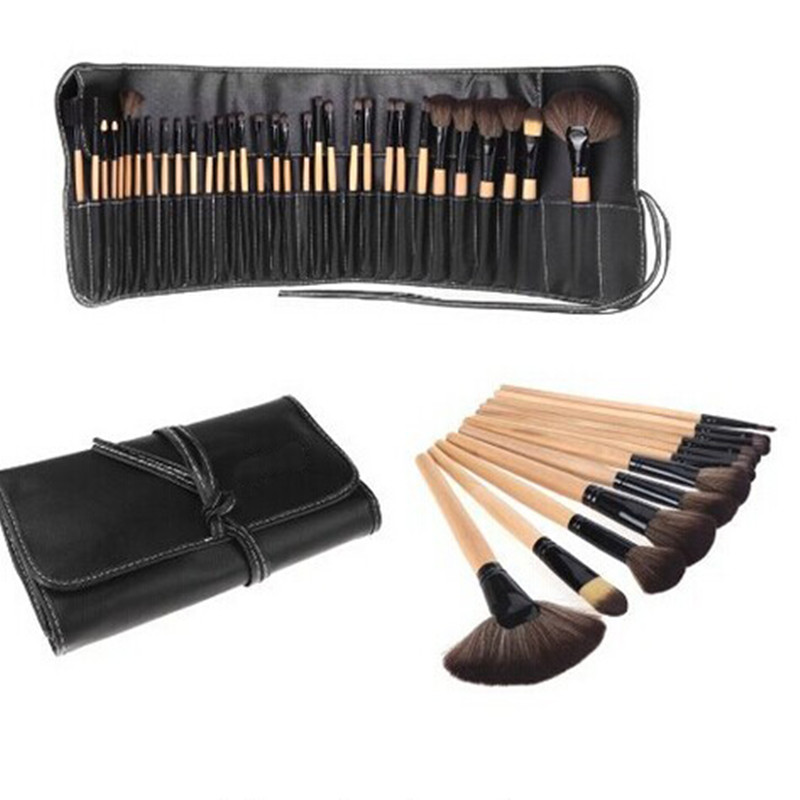 все цены на  32pcs Natural Wood Color Make Up Brush Set Cosmetic Tool Kits Wood Powder Kit for Women  онлайн