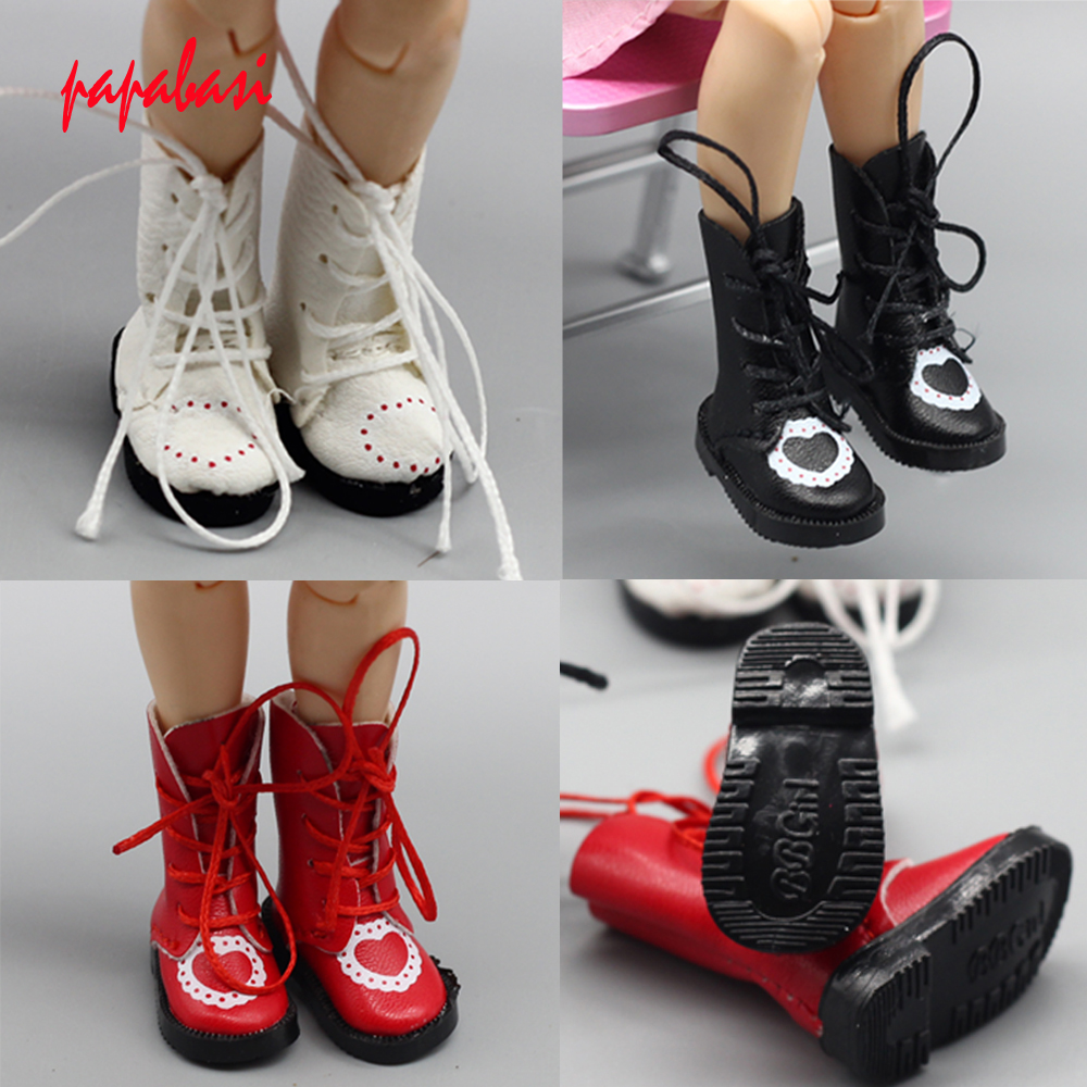 1Pair Heart PU Leather Doll Boots For Blythe Doll Shoes 1/6 1/8 Dolls Shoes Toys