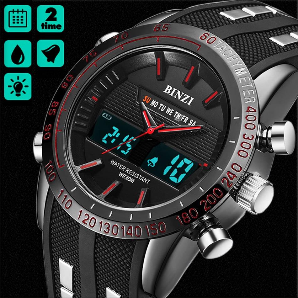 Reloj BINZI para hombre, relojes deportivos al aire libre, reloj militar de cuarzo, masculino, impermeable, 2018, reloj negro de doble pantalla xfcs