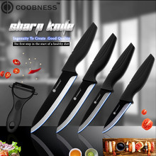 Black Blade Kitchen knives COOBNESS Brand Ceramic Knife Accessories set 3 Paring 4 Utility 5 Slicing 6 Chef Knife+Peeler
