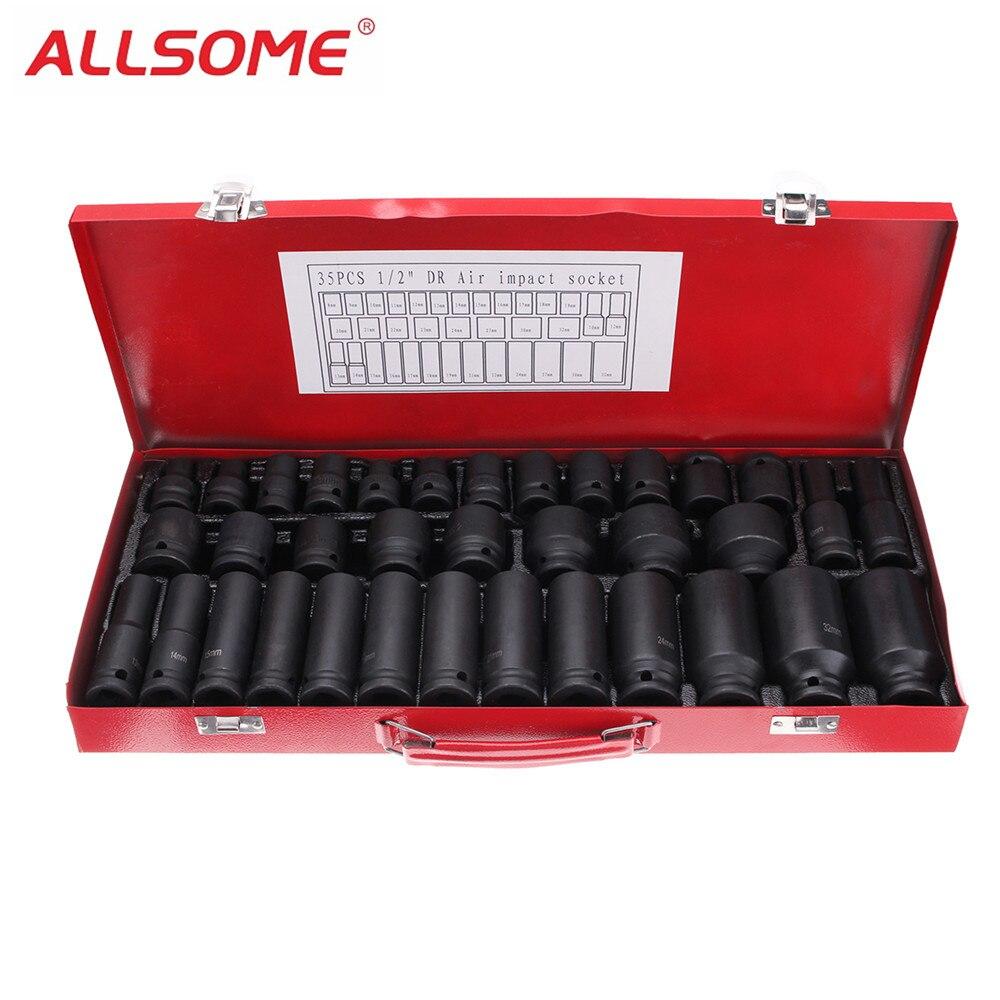 ALLSOME 35pcs 1 2 Inch Deep Drive Impact Socket Set Metric Extension Drive Garage Tool HT1763
