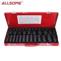 ALLSOME 35 шт. 1/2 дюймов глубокий диск набор ударных насадок метрический удлинитель гаражный инструмент HT1763