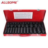 ALLSOME 35pcs 1/2 Inch Deep Drive Impact Socket Set Metric Extension Drive Garage Tool HT1763