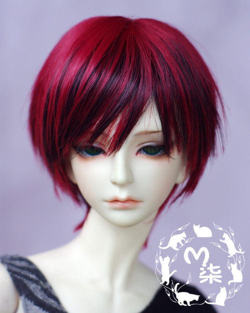 New Black Mix Red Handsome Short Wig For 1/6 1/4 1/3 22~24cm BJD SD DOT LATI DZ AA Hair