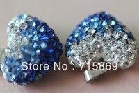 15x13x10mm 200pcs Blue Crystal gradient polymer clay rhinestone heart pendant beads.charm necklace Rhinestone beads