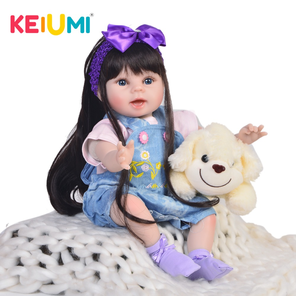 KEIUMI Vendita Calda 22 Pollici Reborn Baby Doll 55 centimetri di Stoffa Del Corpo Vivo Realistica Neonato Bambini Bambola Per Il Bambino di Natale regali di compleanno-in Bambole da Giocattoli e hobby su  Gruppo 1