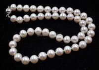 AAA 8,5 9 мм рядом круглый белый пресной воды Жемчужное ожерелье Бесплатная доставка