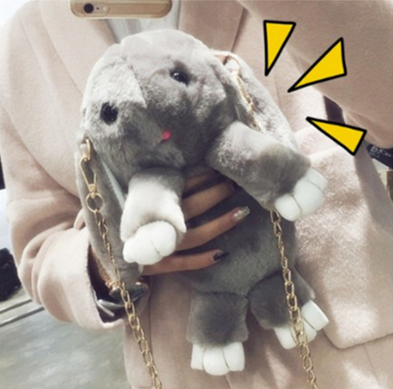 Rabbit Fur Leather Chain Bag Female Models New Winter Grass Bag Diagonal Shoulder Bag Rabbit Cute