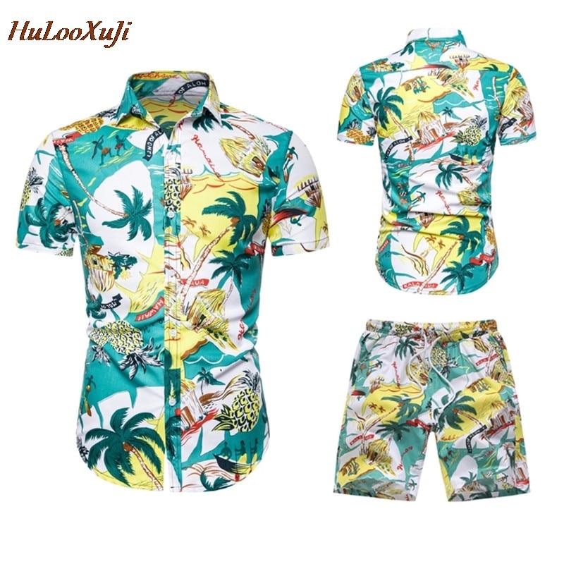 HuLooXuJi Men Summer Sets Fashion Green Floral Print Shirts +Shorts Two Piece Set Short Sleeve ShirtsTracksuits US Size:S-2XL