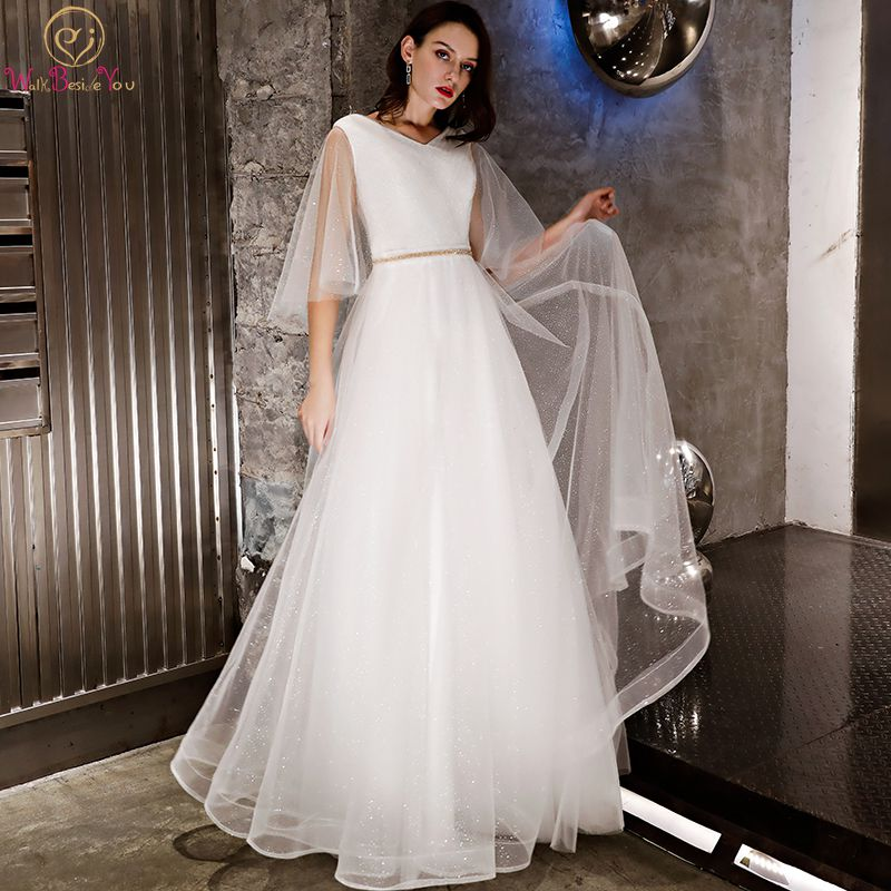 Walk Beside You Crystal Wedding Dresses Turky Shiny Short Sleeves Tulle Light Ivory V-neck A-line Long Beach Bridal Gowns 2019
