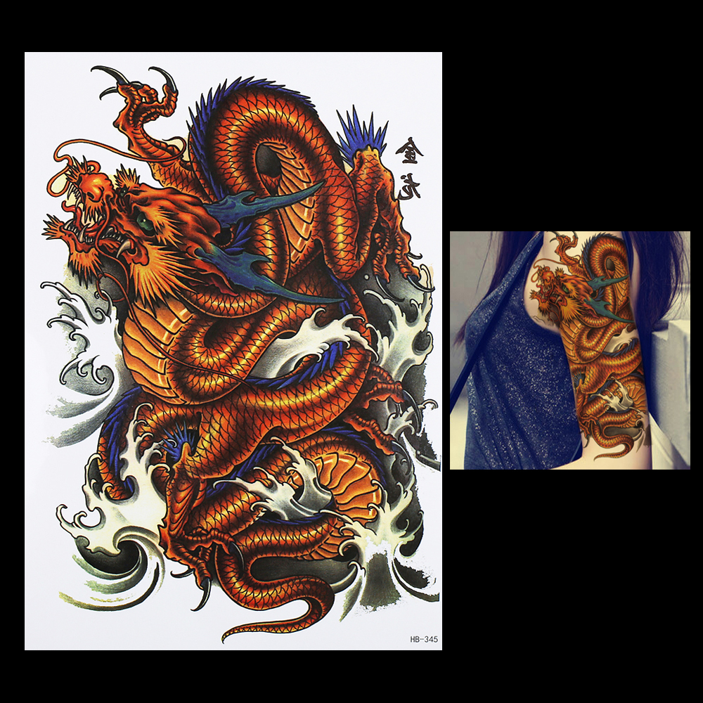 1 pc water transfer body arm leg art temporary tattoo sticker hb345 for women men chinese dragon. Black Bedroom Furniture Sets. Home Design Ideas