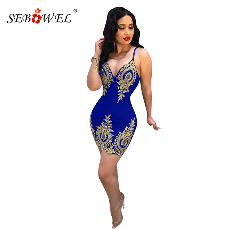 SEBOWEL Black/Red/Blue Gold Applique Embroidered Party Dress Women Plus Size Sexy V Neck Backless Spaghetti Strap Mini XXL