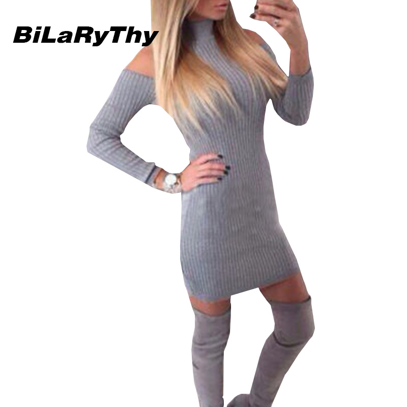 BiLaRyThy Solid Gray/Black Knitted Women Dress Casual Bodycon Party Dresses Sexy Off Shoulder Long Sleeve Ladis Dress Vestidos