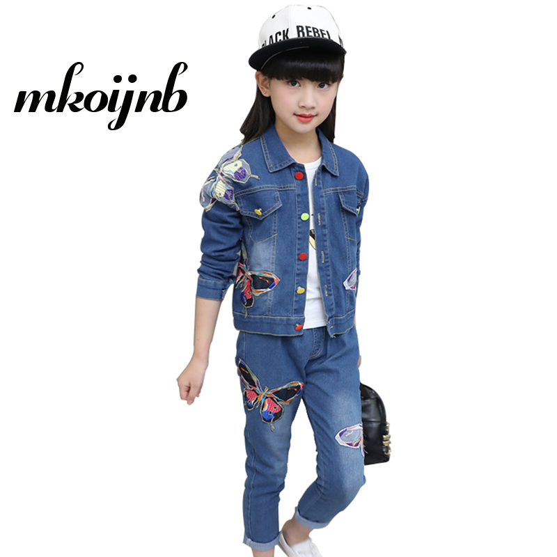 Girls Clothing Set Spring Autumn Children Cartoon Denim Jacket+Jeans 2Pcs Girls Boutique Outfits Sports Suits 6 8 10 12 13 Years