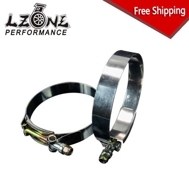LZONE RACING - FREE SHIPPING (2PC/LOT) 3.5 CLAMPS (92-100)STAINLESS SILICONE TURBO HOSE COUPLER T BOLT CLAMP KIT HIGH QUALITY