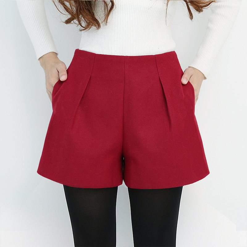 Plus Size Woolen Shorts Women 2019 Autumn Winter Short Pants Casual Loose High Waist Shorts Fashion Pockets Wide Booty Shorts