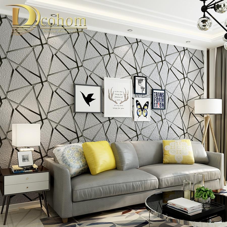 Di spessore floccato geometrica moderno a righe 3d carta for Carta da parati per soggiorno moderno