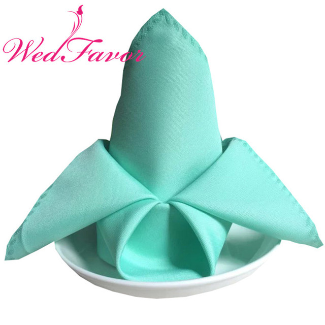 100pcs 45 X 45cm Tiffany Blue Plain Polyester Table Handkerchiefs Dinner Linen Napkins For Home Hotel