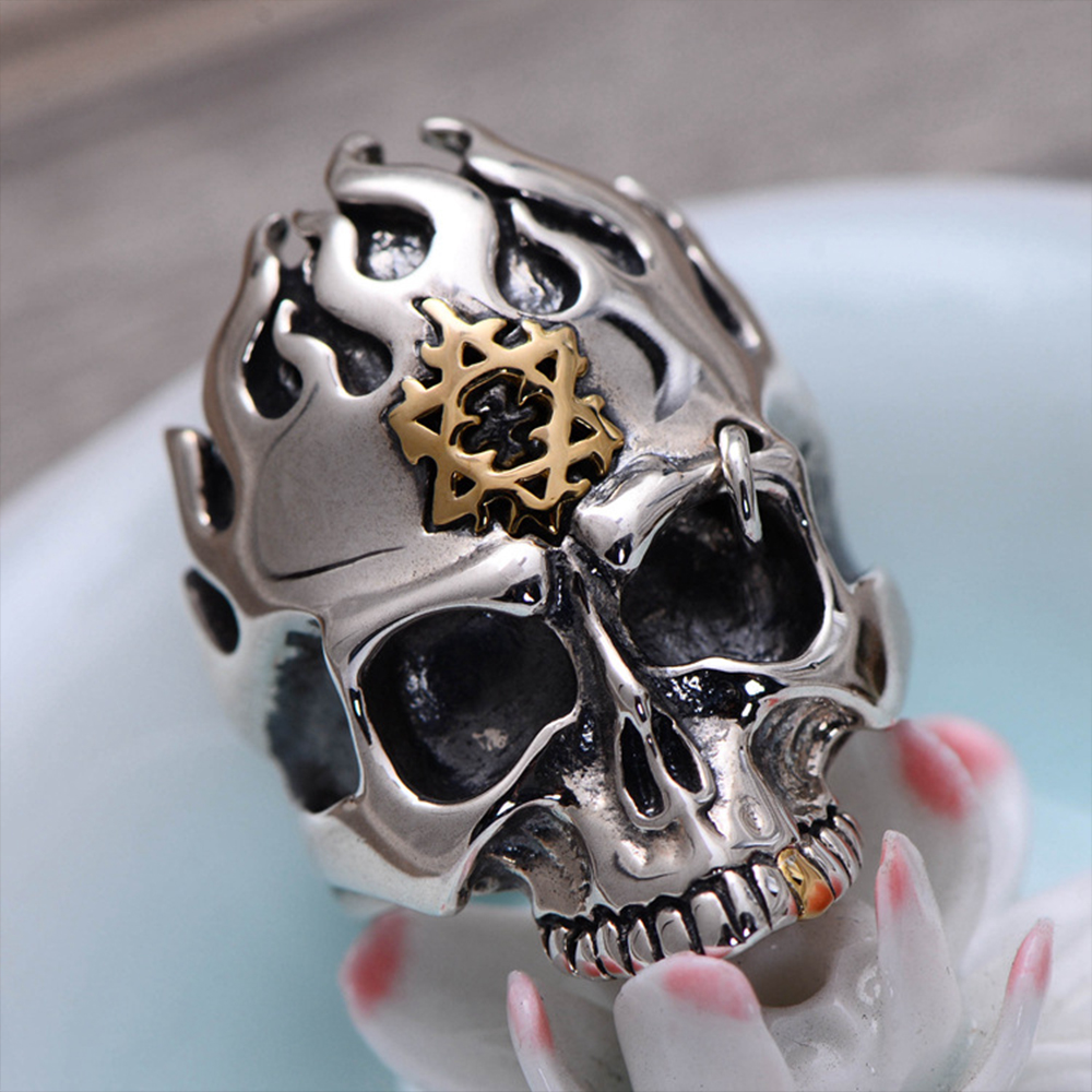 MetJakt Punk Rock Skull Rings with Flame Hexagram Solid 925 Sterling Silver Rings for Cool Men Vintage Personalised JewelryMetJakt Punk Rock Skull Rings with Flame Hexagram Solid 925 Sterling Silver Rings for Cool Men Vintage Personalised Jewelry