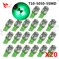 20pcs T10 5050 5SMD LED T10 194 168 W5W Car Side Wedge Tail Light Lamp Bulb